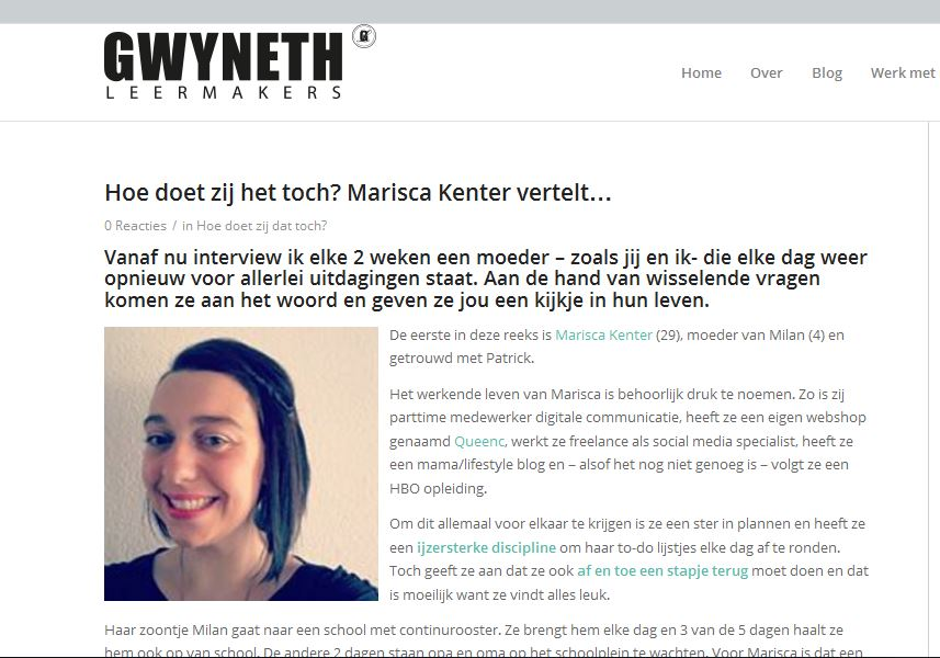 Interview, Marisca, kenter, mamablogger, Gwyneth, Leermakers, Fabulous, Business, mom